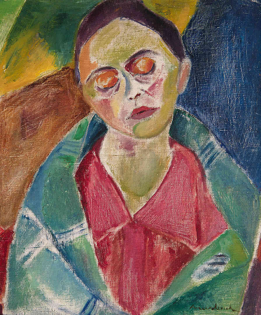 Sleeping lady in red and green Edith Auerbach - Kunsthandel Studio 2000