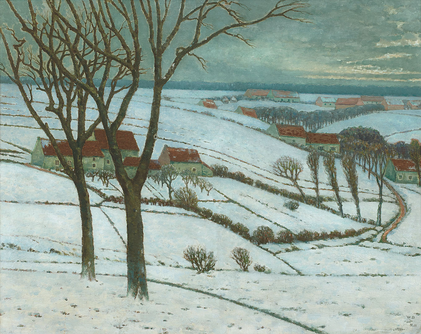 Brabant in sneeuw, 1911 William Degouve de Nuncques (1867-1935) - Kunsthandel Studio 2000