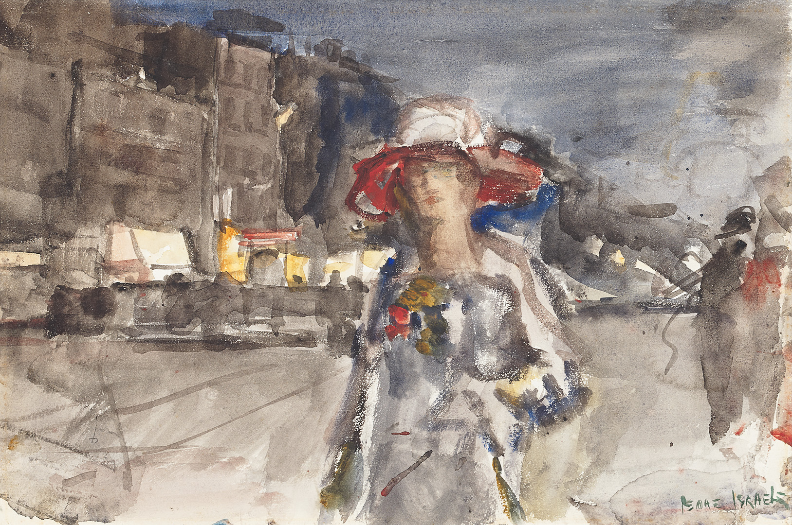 Lady on the boulevard, ca. 1900 Isaac Lazarus Israels (1865-1934) - Kunsthandel Studio 2000