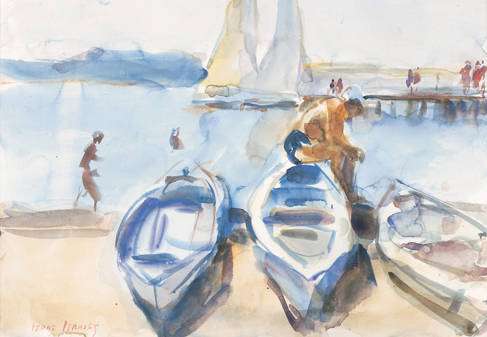 Figures and boats on a beach, Portorose Isaac Lazarus Israels (1865-1934) - Kunsthandel Studio 2000