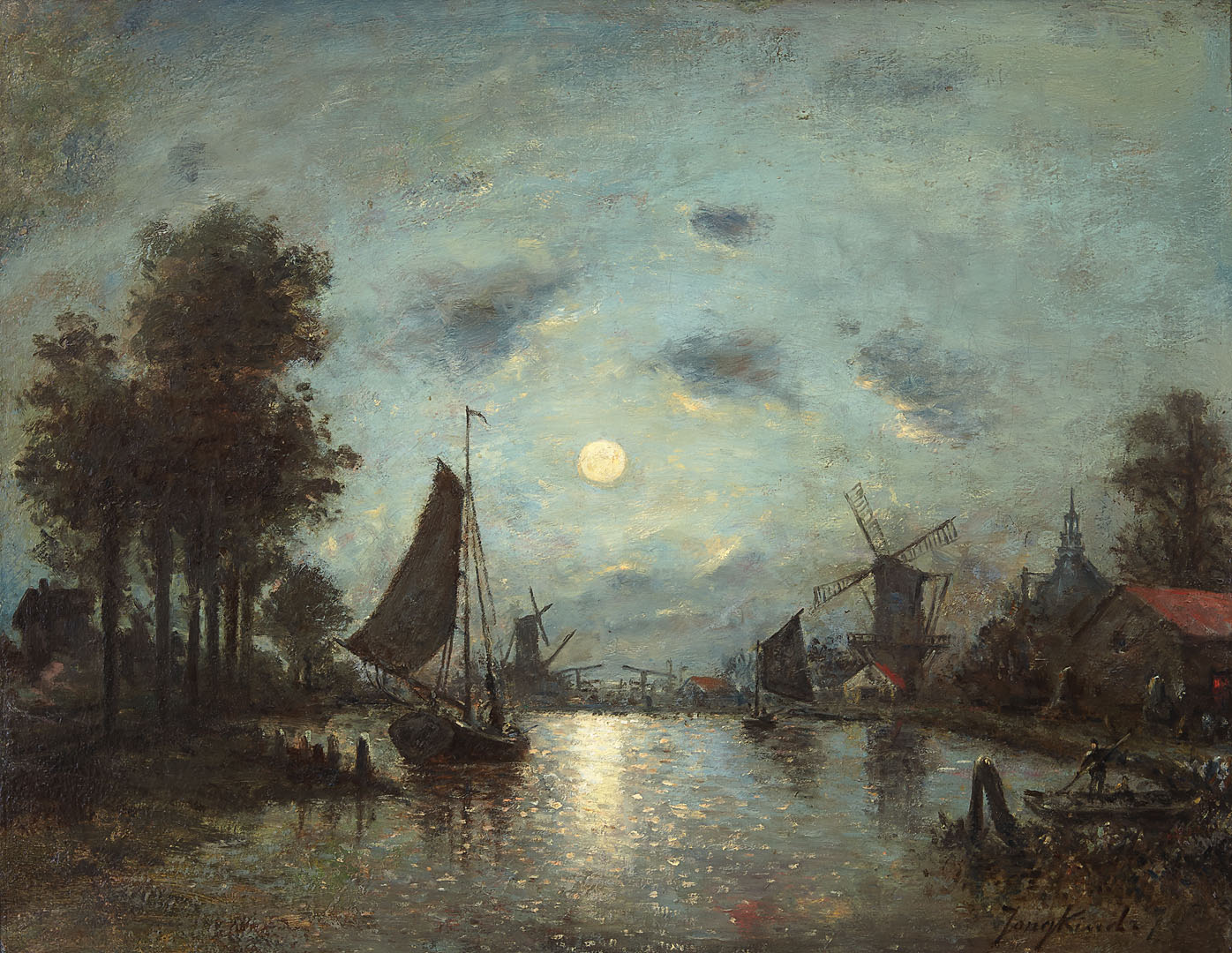 A sailing vessel in a Dutch estuary by night Johan Bartold Jongkind (1819-1891) - Kunsthandel Studio 2000
