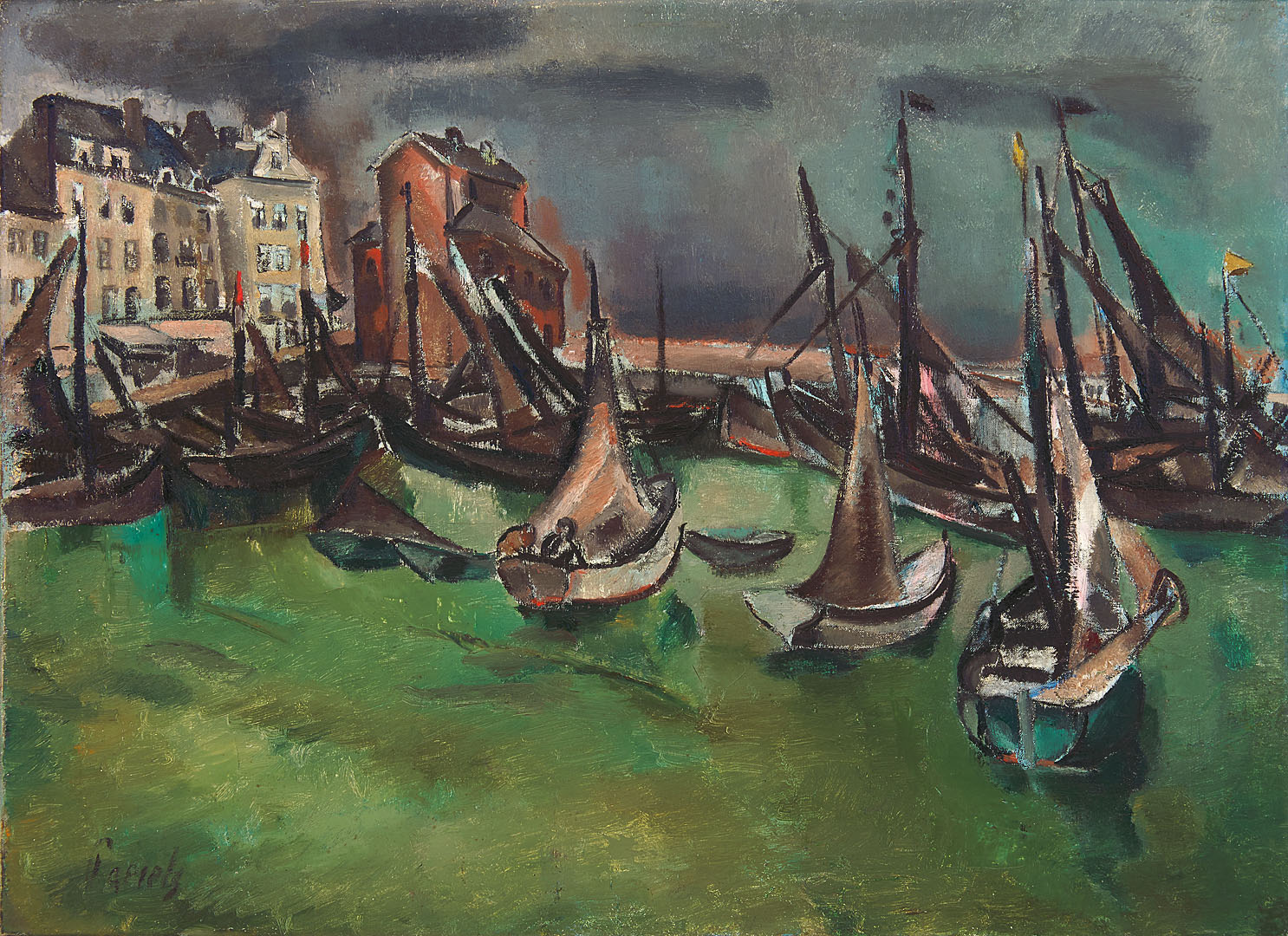 Boten in een haven Willem Adriaan Paerels (1878-1962) - Kunsthandel Studio 2000