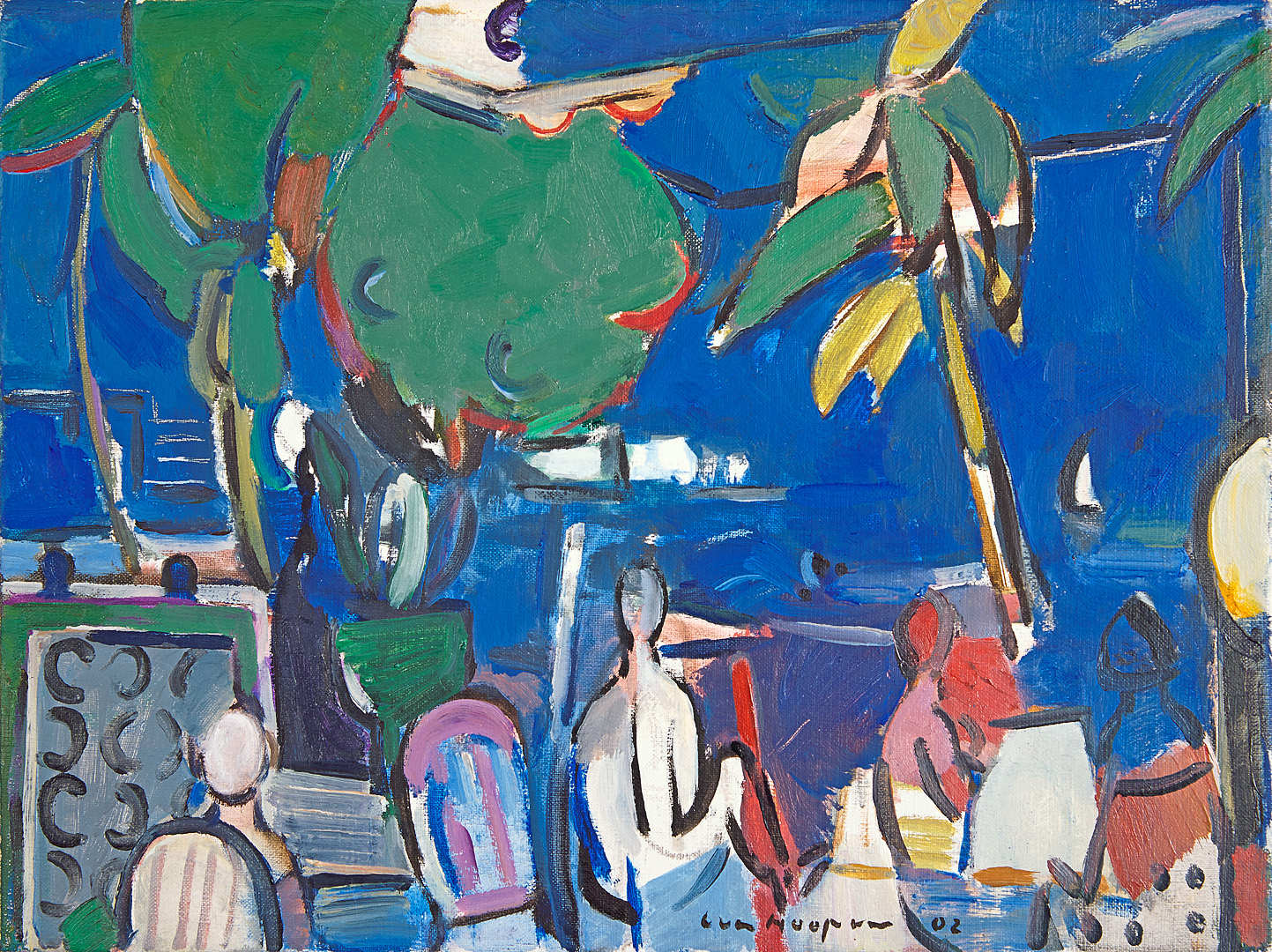 Croisette, Cannes bij nacht, 2002 Paul Hugo ten Hoopen (1927-) - Kunsthandel Studio 2000