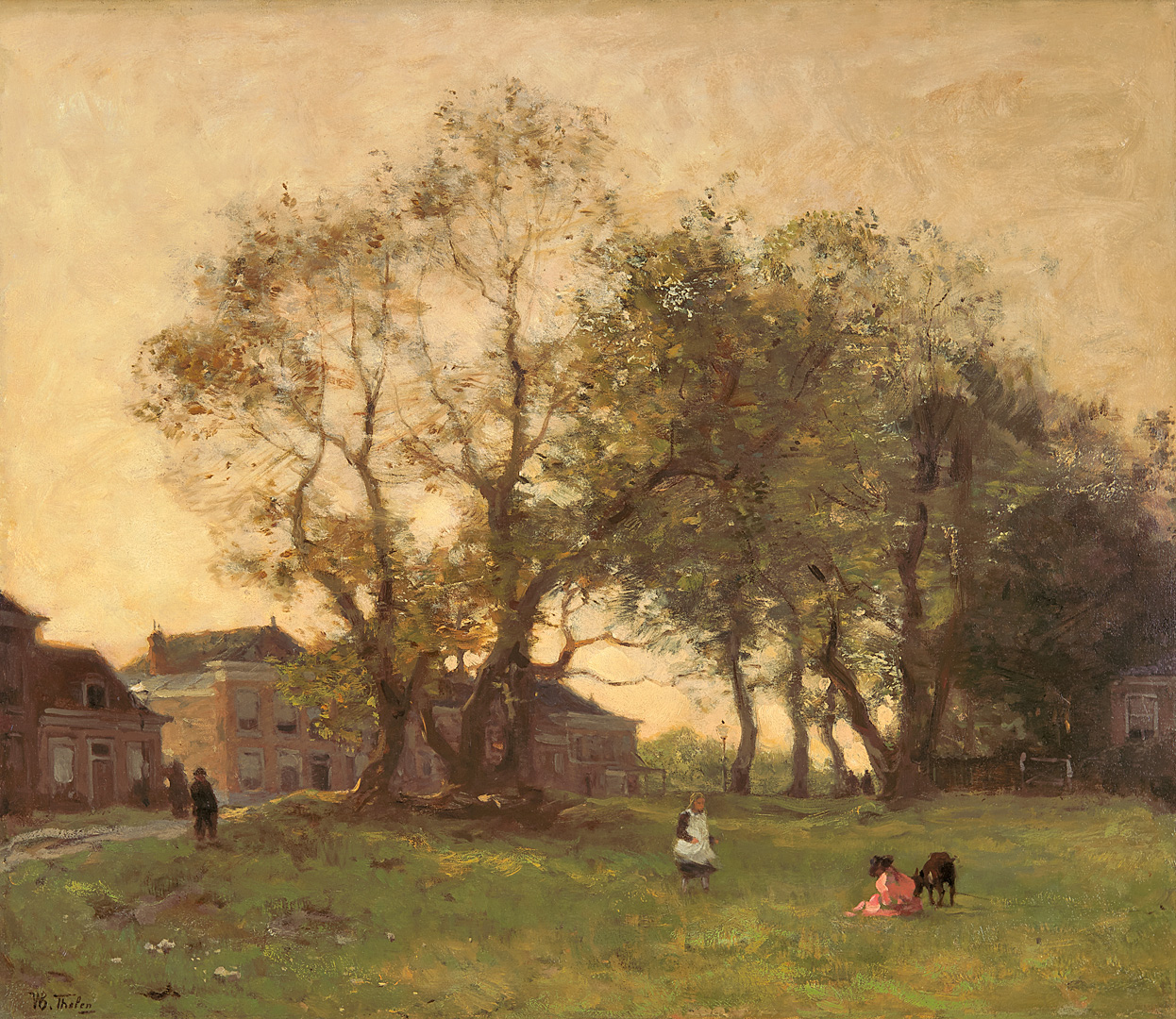 Children playing under the trees, The Hague Willem Bastiaan Tholen (1860-1931) - Kunsthandel Studio 2000