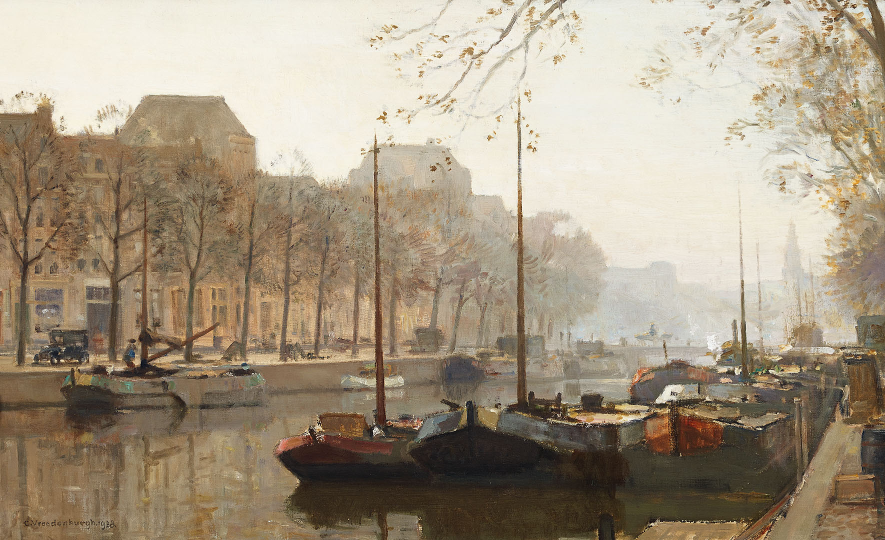 Boten in haven, 1938 Cornelis Vreedenburgh (1880-1946) - Kunsthandel Studio 2000