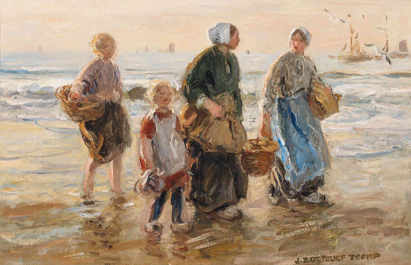 Jan zoetelief tromp vissersvrouwen langs het strand van katwijk kunsthandel studio 2000 - Kinder schilderij ...