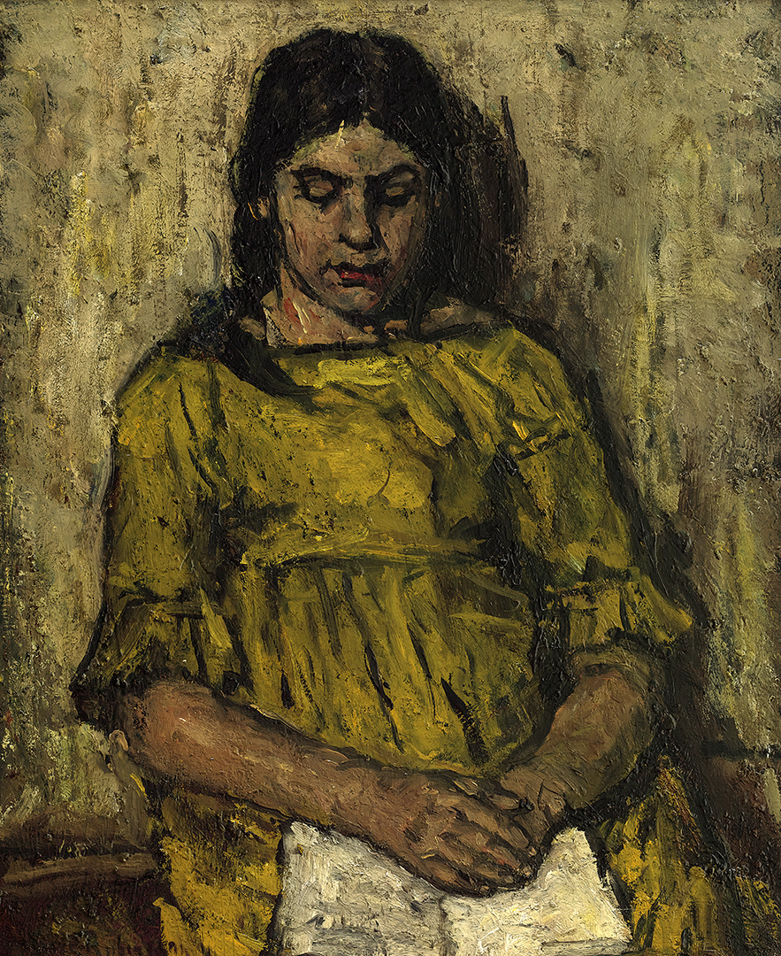 A girl in a yellow dress, reading Suze Robertson (1855-1922) - Kunsthandel Studio 2000