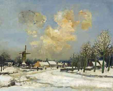 Sneeuw in Vlaanderen Albert Saverijs / Saverys (1886-1964) - Kunsthandel Studio 2000
