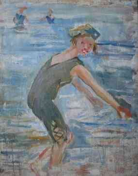 Spelend meisje in zee Simon Willem Maris (1873-1935) - Kunsthandel Studio 2000