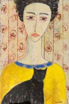 woman in yellow Carlos Mata (1949-2008) - Kunsthandel Studio 2000