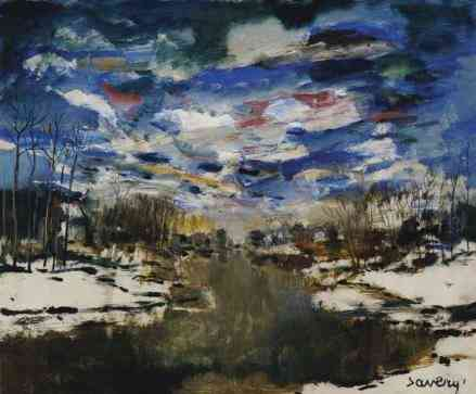 Winterlandschap (Leie) Albert Saverijs / Saverys (1886-1964) - Kunsthandel Studio 2000