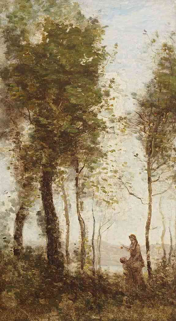 Landscape with tall trees, Mother and child with apple Jean Baptiste Camille Corot (1796-1875) - Kunsthandel Studio 2000