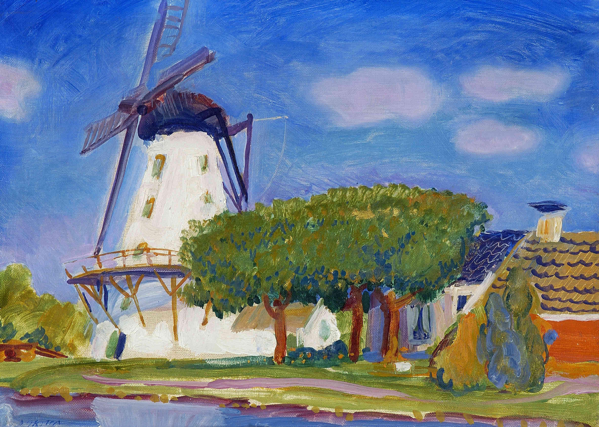 De witte molen in Ten Boer, ca. 1930