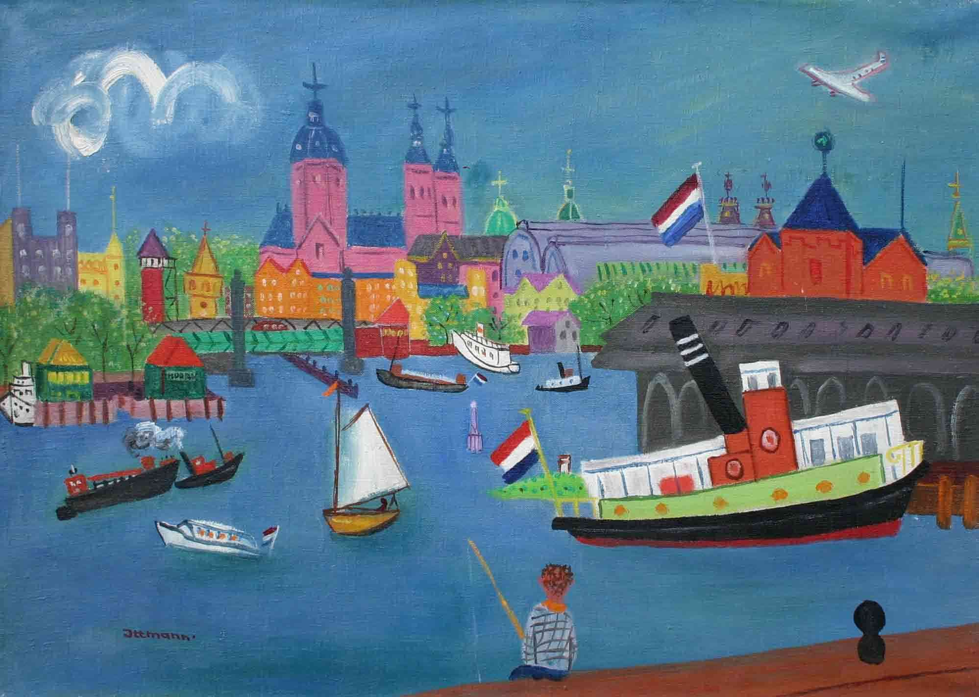 Vissers in de haven Hans Ittmann (1914-1972) - Kunsthandel Studio 2000
