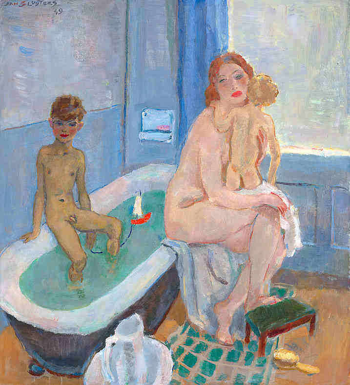 Greet, Rob en Liesje in de badkamer Jan Sluijters (1881-1957) - Kunsthandel Studio 2000