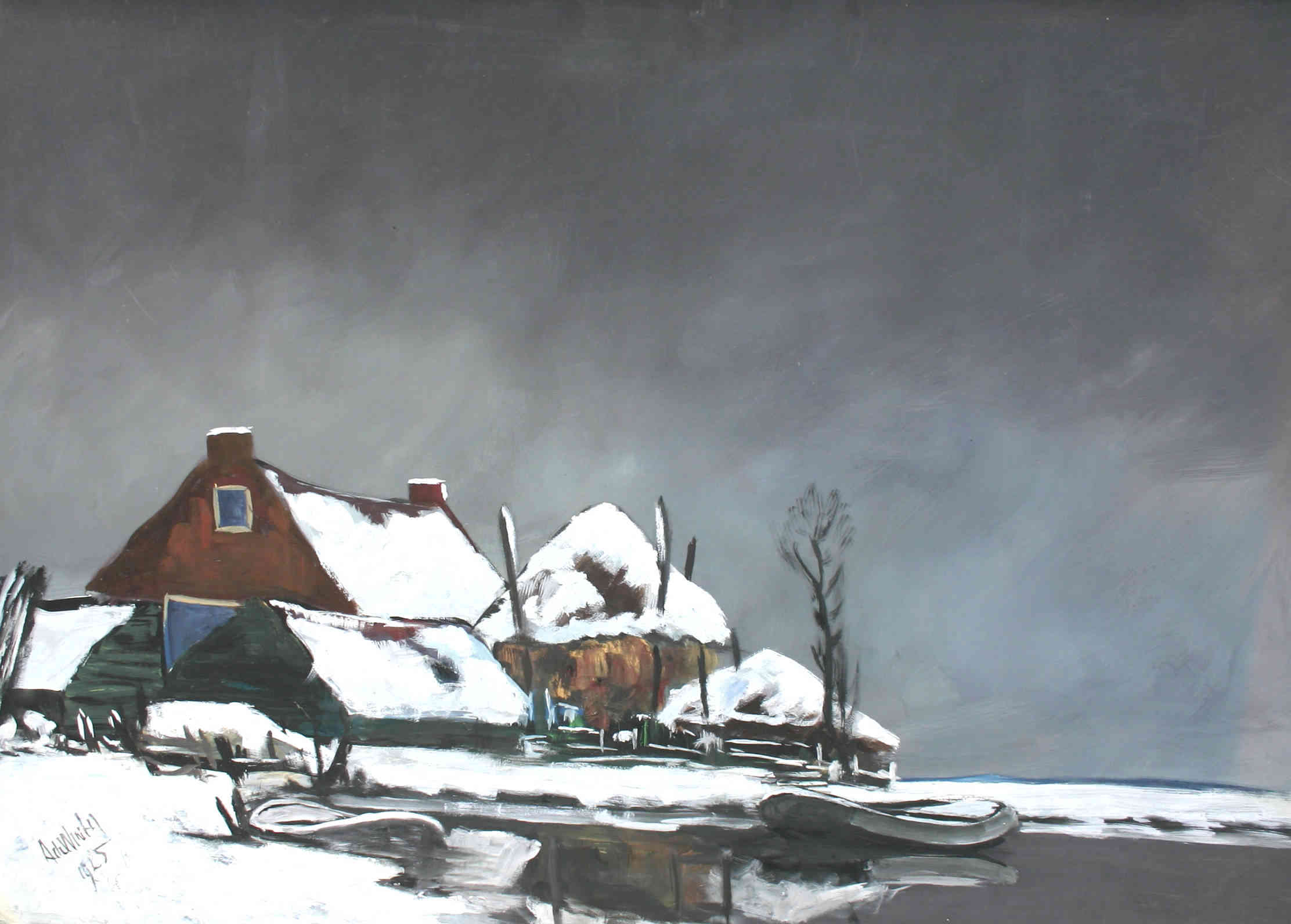 Boerderij in winterlandschap Janus de Winter (1882-1951) - Kunsthandel Studio 2000