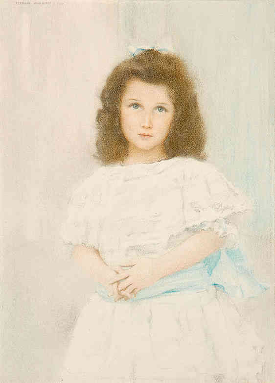 Portrait of a Renée Lambert de Rothschild, daughter of the founder of the Lambert bank Fernand Khnopff (1858-1921) - Kunsthandel Studio 2000