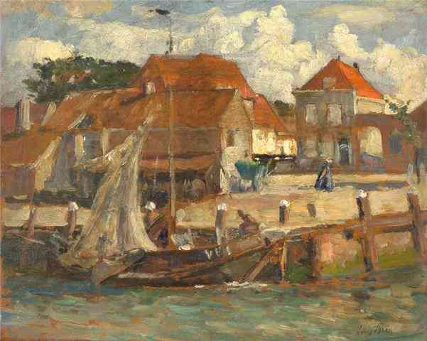 Vissersboot in haven van Veere Louis Bron (1884-1959) - Kunsthandel Studio 2000