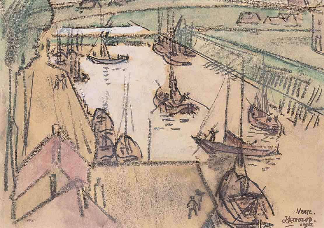 Haven van Veere Jan Toorop (1858-1928) - Kunsthandel Studio 2000