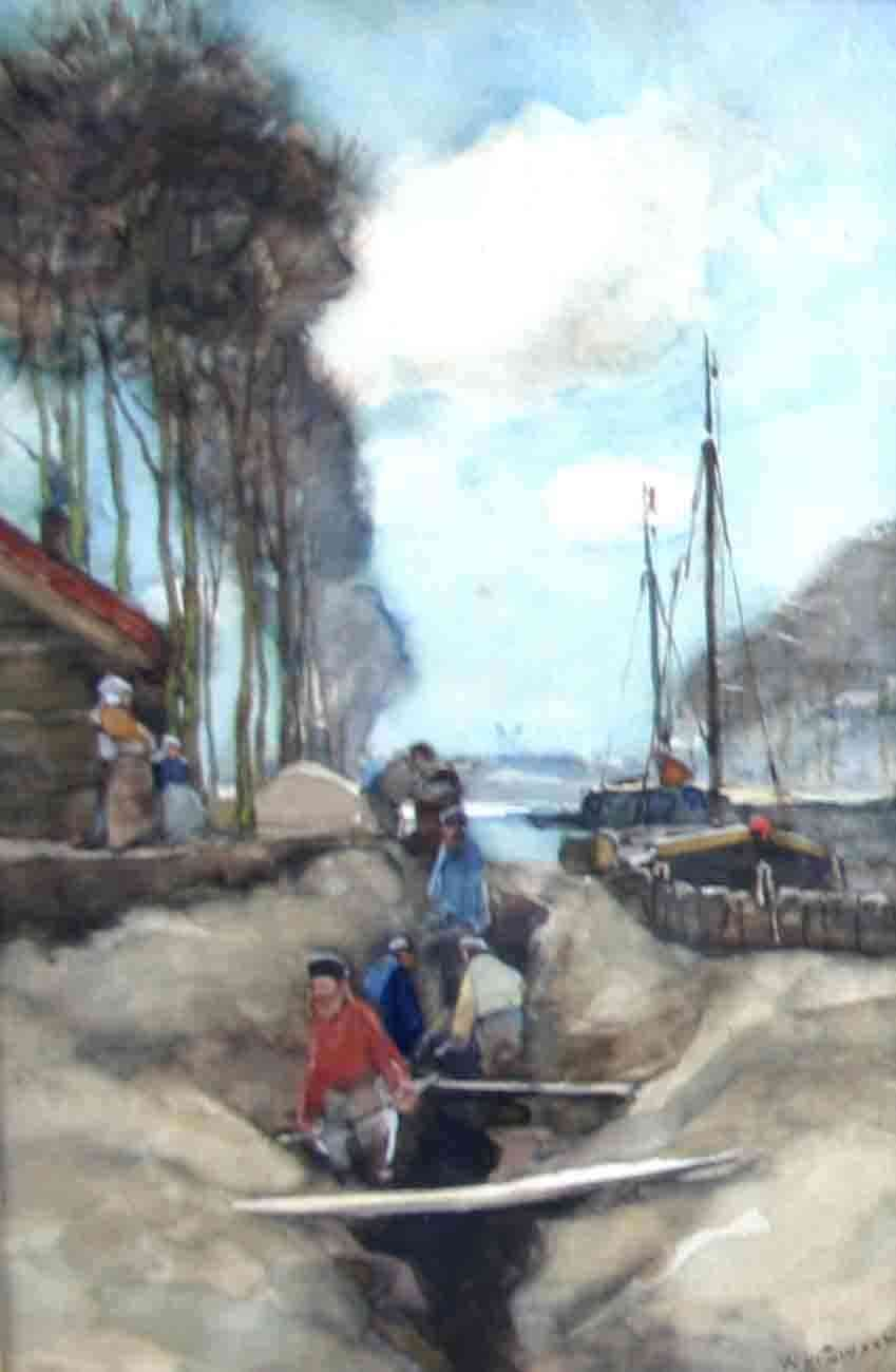 Diggers on the bank Willem de Zwart (1862-1931) - Kunsthandel Studio 2000